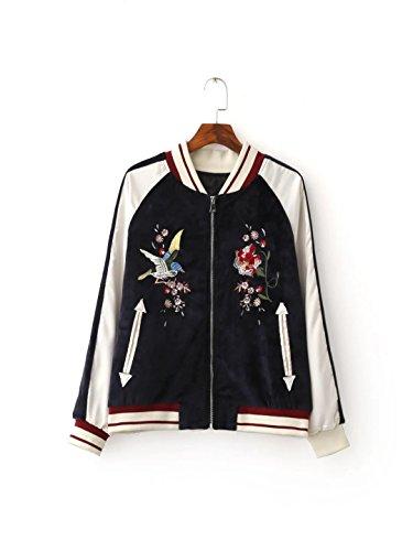 Invierno nuevo encanto de la manera del color bordado a mano uniforme de béisbol del vuelo marea chaqueta de las mujeres Black