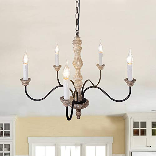 EDISLIVE 5-Light Chandeliers Shades French Country Shabby Chic Rust Large Candle Chandelier for Dining Rooms Living Room