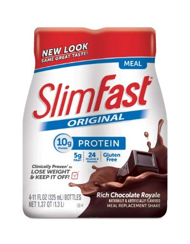 SlimFast Original Meal Replacement Shakes, Rich Chocolate Royale (Pack of 24)