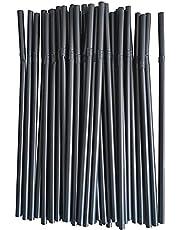 Engångs svarta armbågssugrör – 100/300/500/900/700/1000 st långa flexibla sugrör, 210 x 6 mm böjda gör-det-själv-sugrör för barn vuxna hem, fest, bar, dryckesbutiker