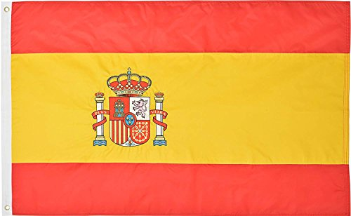 Green Grove Products Spain Flag 3' x 5' Ft 210D Nylon Premium Outdoor Embroidered Spanish Flag]()