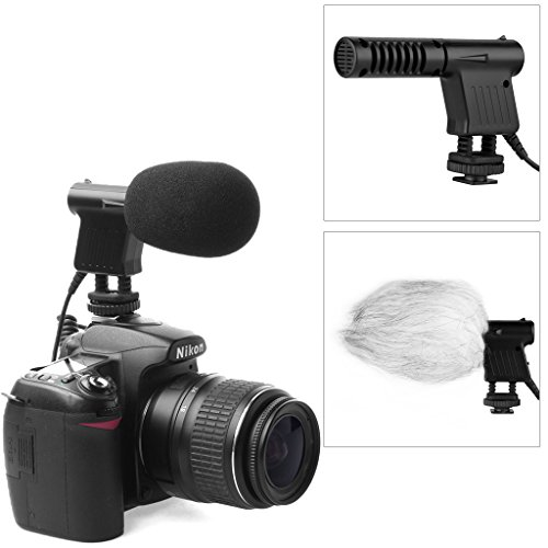 Boya BY-VM01 Professional Video & Broadcast Directional Condenser Microphone for Nikon D800 D800E D3200 D600 D5100 D7000 D300s D3s D3100 D4 and other DSLR Camcorder DV with Windshield