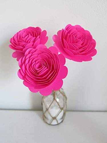 Fuchsia Roses On Stems Set Of 3 3 Inch Hot Pink Paper Flowers