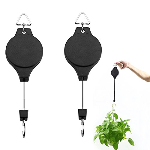 Retractable Hooks (Yblntek Plant Pulley Retractable Hanger Hanging Planters Flower Basket Hook Hanging Garden Baskets Pots and Birds Feeder Hang High Up and Pull Down To Water and Feed, Black (2 Packs))