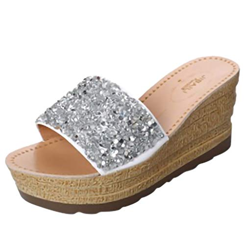 YKARITIANNA Women Mid-Heeled Wedges Platform Sandals Fashion Sequins Shallow Mouth Slippers 2019 Summer Silver