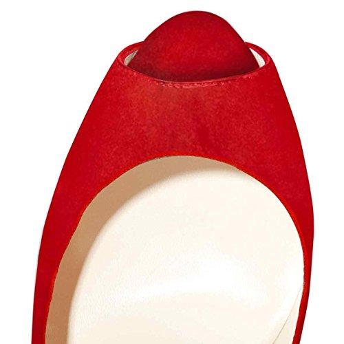 Arc-en-Ciel zapatos de plataforma de la mujer peep toe de tacón alto-redgold-us13