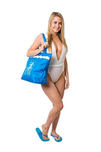 Bolsa de Playa Para Mujer + Chanclas 2 Piezas Caballo de Mar EU 38-39 Airee Fairee Azul