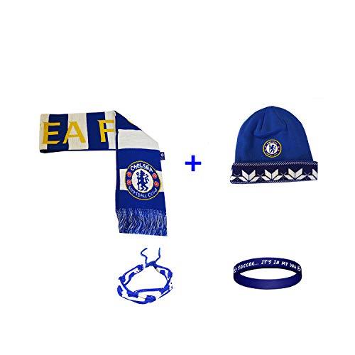 Chelsea FC Soccer Set Beanie Skull Cap Hat and Scarf Reversible + 2 Bracelet Set 4 Pcs CHEL002