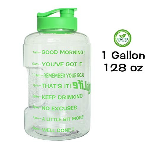 QuiFit 1 Gallon/128oz Water Bottle Reusable Leak-Proof Drinking Water Jug for Outdoor Camping Hiking BPA Free Plastic Sports Water Bottle with Daily Time Marked(Clear/Green)