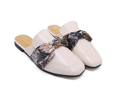 Pump Court OL Close Heel Casual Flat Onfly 42 Size Shoes Cool Bowknot Shoes Slippers Women 34 Roma Dress Mules Beige Eu Shoes Toe Shoes qXwqxZ6Ip