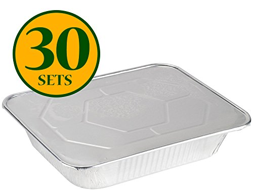 COMFY PACKAGE Half Size Deep 9 X 13 [HEAVY-DUTY] Aluminum Foil Steam Table Pans With Lids, (30 Pack Combo)