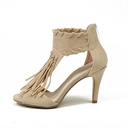Sandales Chaussures Femme Beautyjourney Sandale Chaussures Minceur Gland Sandale Hauts Cheville Femmes Forme Plate Beige Compensee Ete Talons pXqqAP5