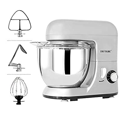 CHEFTRONIC Stand Mixer, Kitchen Mixer,Electric Mixer, Stainless Steel Bowl with Splash Guard,Dough Hook,Wire Whip, Flat Beater for Mother's Day.