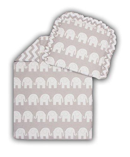 Kinderwagenset Baby Bettwäsche Garnitur für Kinderwagen Kissen Decke Füllung Elefant Grau/Zickzack Grau (2 tlg.)
