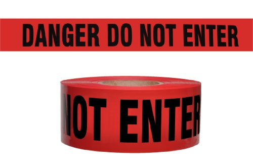 Presco B3102R10-658 1000' Length x 3'' Width x 2 mil Thick, Polyethylene, Red with Black Ink Barricade Tape, Legend ''Danger Do Not Enter'' (Pack of 8) by Presco