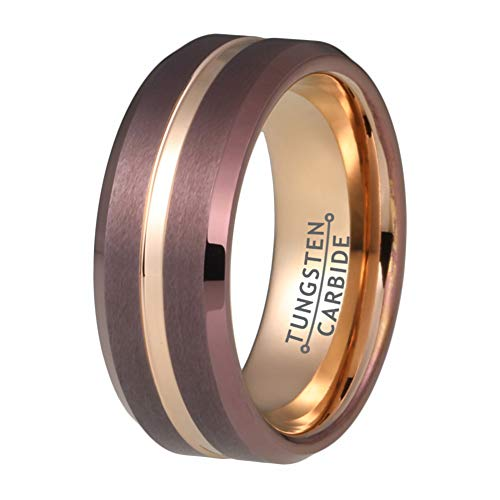 Wow Jewelers 8mm Rose Gold Tungsten Carbide Rings for Men Women Coffe Brown Wedding Bands Brushed Finish