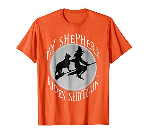 German Shepherd Clothes - Mens My shepherd rides shotgun halloween german shepherd shirt 2XL Orange