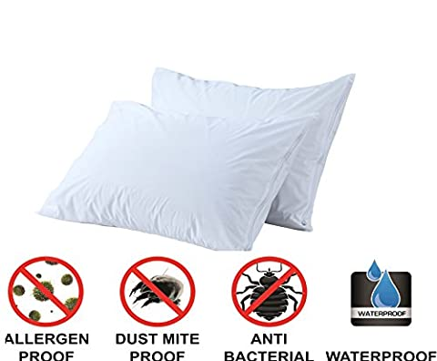 Queen Waterproof Pillow Protectors Pack of 2 Soft Premium Zippered Bed Bug Encasement Hypoallergenic Allergy Covers Bacterial Dust Mite Asthma Breathable Quiet Cases Set By Niagara Sleep (Bedbug Pillowcase)