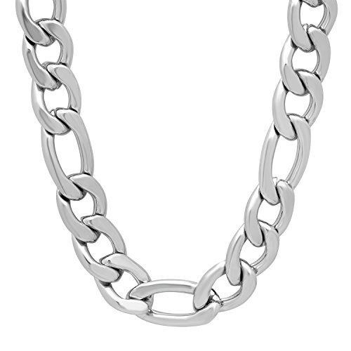 The Bling Factory Men's 11.5mm Durable Stainless Steel Thick Figaro Link Chain Necklace, 24