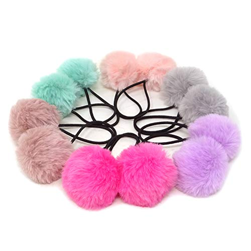 Honbay 12PCS Korean Cute Pom Pom Ball Elastic Hair Ties PomPom Hair Bands Seamless Hair Ropes Ponytail Holders (A)