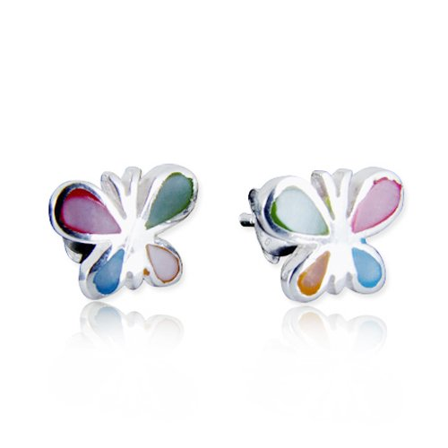 925 Sterling Silver Mother of Pearl Little Butterfly 7 mm Post Stud (Butterfly Mother Of Pearl)