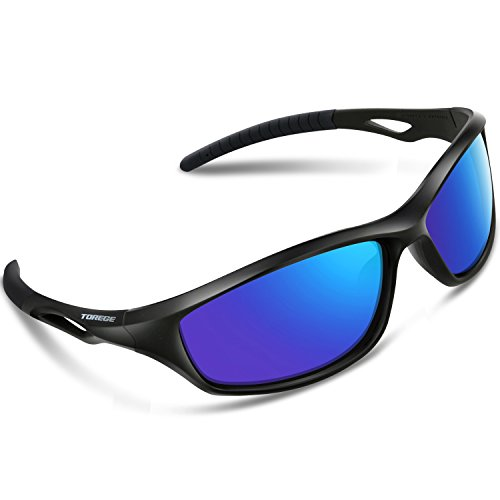 Torege Polarized Sports Sunglasses For Men Women For Cycling Running Fishing Golf TR90 Unbreakable Frame TR010-1 (Black&Black Tips& Blue - Price Low Men For Sunglasses