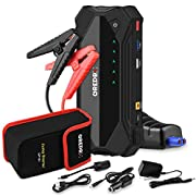 #LightningDeal Car Jump Starter (Up to 8.0L Gas or 6.0L Diesel Engine) 18000mAh Portable Auto Battery Booster Jump Starter Pack for 12V Vehicle, with Dual USB Quick Charge 3.0 Ports, Built-in LED Light and Compass