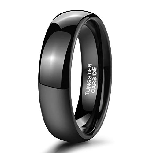 Shuremaster 6mm Black Tungsten Ring for Him and Her Dome High Polished Comfort Fit Wedding Band (4.5)