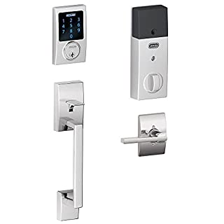 Schlage Connect Century Touchscreen Deadbolt with Built-In Alarm and Handleset Grip with Latitude Lever, Bright Chrome, FE469NX LAT 625 CEN (B00D1M5ZMW) | Amazon Products