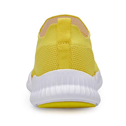 Phefee Slip on Walking Shoes for Women Lightweight Comfortable Work Shoes Non-Slip Tennis Shoes Fashion Sock Sneakers(Yellow,37)