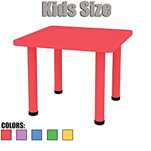 2xhome   Red   Kids Table   Height Adjustable 18.25 Inches To 19.25 Inches    Square Shaped Plastic Activity Table With Metal Legs For Toddler Child ...