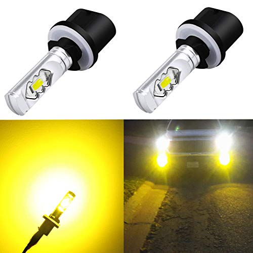 Alla Lighting 3800lm 899 880 LED Fog Light Bulbs Xtreme Super Bright 892 880 LED Bulb ETI 56-SMD LED 880 Bulb for Auto Motorcycle Cars Trucks SUVs Fog DRL Lights, 3000k Amber Yellow (Set of 2) (Best Yellow Fog Light Bulbs)