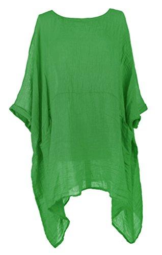 TEXTURE Ladies Women Italian Lagenlook 2 Pocket Asymmetric Linen Kaftan Tunic Top Blouse One Size Plus (Emerald Green, One ()