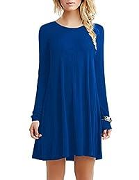 OMZIN Women's Long Sleeve Casual Loose Swing Dress Plus Size XXS-4XL