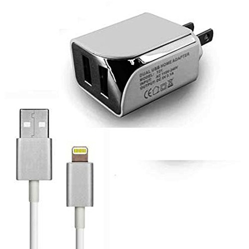 166' Cable (White Color 2 in 1 Design DC 2.1 Amp. Dual Connector Home Wall Travel Charger Adapter & USB Data Sync Cable For Verizon Apple iPhone 6 4.7