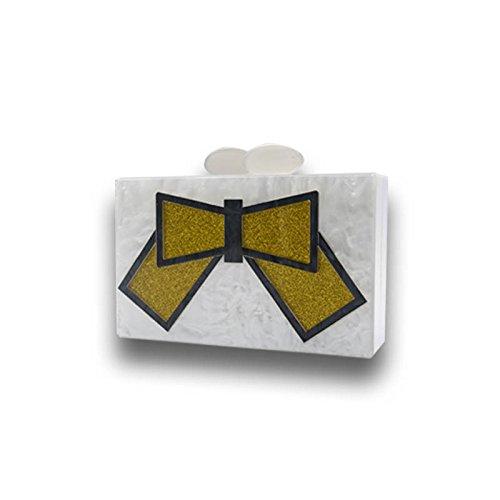 Acrilico Colorwhite Borse Donne Butterflywhite Frizione Spalla Modo Di Bianco Sera Perla Wenl Borsa Adatta Rettangolare 86BqT4wBn