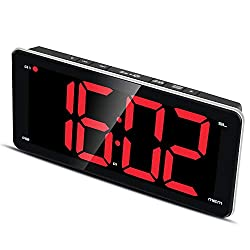 9.5 Large Display Alarm Clock Radio, Jumbo LED Digital Alarm Clock with FM Radio, Full Range Dimmer, Dual Smart Alarm, Sleep Timer, Snooze, Battery Backup red