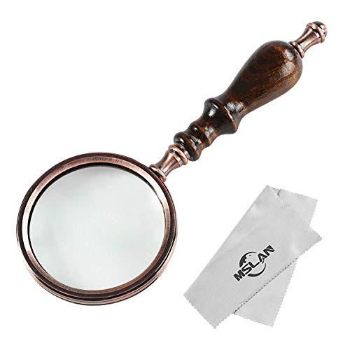 MSLAN 10X Antique Copper Handheld Magnifying Glass with Wooden Handle and Real Glass,Best Reading Magnifier for Elderly,Macular Degeneration
