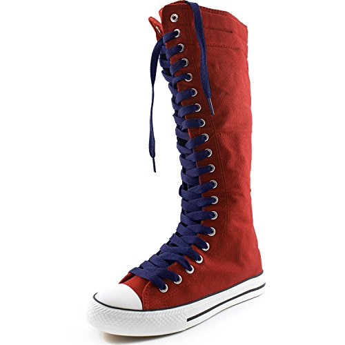 DailyShoes Womens Canvas Mid Calf Tall Boots Casual Sneaker Punk Flat, Navy Blue Red Boots, Navy Blue Lace