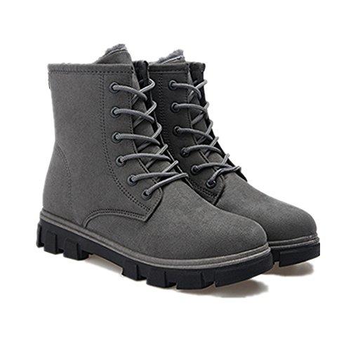 Invierno Calentar Nieve interno Fur lana Martin CUSTOME Mujer de Gris Planos Zapatos Botas antideslizantes Botines Botas para 0wwtzCq