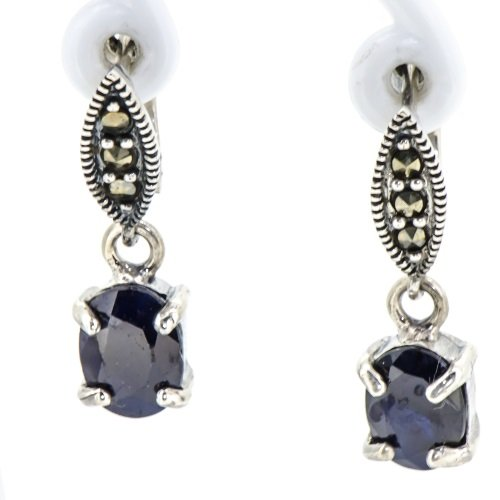 Natural Rare Blue Sapphire Vintage Marcasite Marquise Earrings Oxide 925 Silver (Genuine Marquise Sapphire Ring)