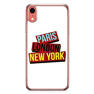Loud Universe Phone Case For iPhone XR Transparent Edge Paris Newyork Phone Case Typography iPhone XR Cover