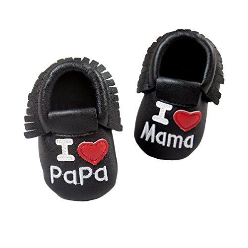 R & V 0–18M unisex bebé Mocasín I Love Mama Papa suave suela sintética borla zapatos de bebé perwalker 6colores negro negro Talla:11cm/ 4.25in negro