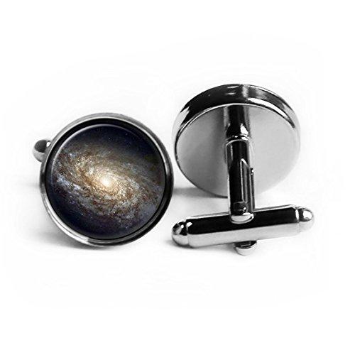 NASA Photograph Galaxy Dark Beauty Rhodium Plated Silver Cufflinks