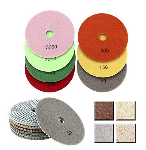 DaFFeng 7Pcs 5 Pouces 50-3000 Grains Disque De Polissage Pad Disque De Pon?age Pour Marbre Granit B/¨/¦ton Verre