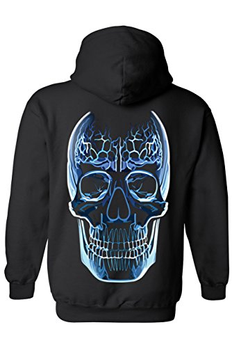 Unisex Zip Up Hoodie Blue Glass Skull Oversized Graphic: BLACK (5XL)