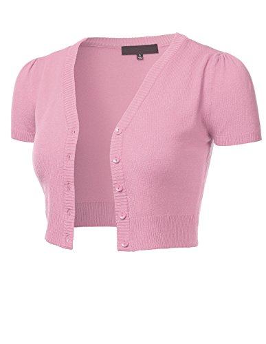 FLORIA Womens Button Down Short Sleeve Cropped Bolero Cardigan Sweater LIGHTPINK M