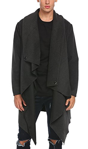 (COOFANDY Men's Woolen Coat Avant-Garde Unbalance Turtle Drape Cardigan Coat (Small, Dark Grey))