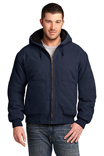 - Cornerstone Men's Washed Duck Cloth Insulated Hooded Work Jacket XL Navy