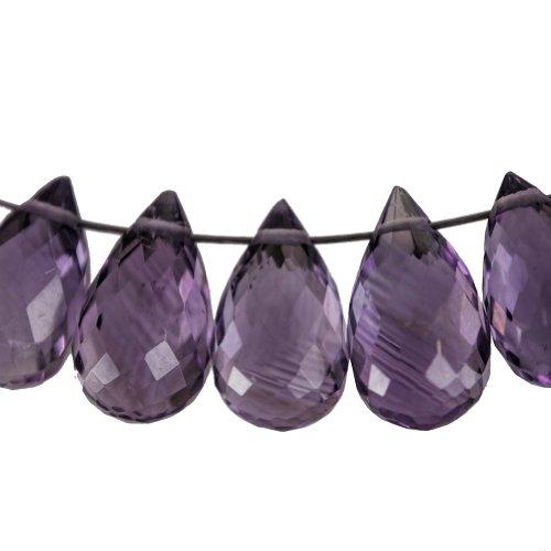 Amethyst Drop Briolette Facet Beads About 9mm (Qty=10)